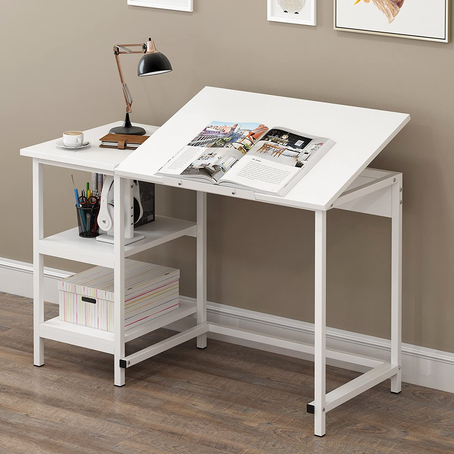 CherryTree Furniture Computer Desk Drafting Table with Shelves (Black) Cherry Tree Furniture