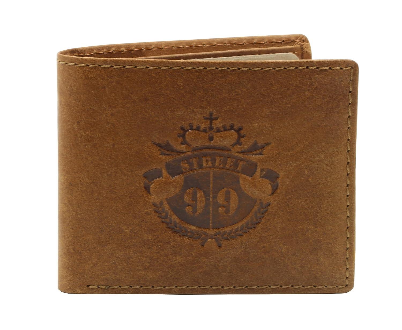 Tan 6 Credit Card Slots Real Leather STREET 99 Mens/Billfold Wallet