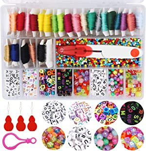 EuTengHao Jewelry Making Beading Kit with Glass Seed Pony Beads Alphabet Letter Beads Small Craft Beads 30 Colors Cotton Embroidery Floss Thread Elastic Cord for Necklace Bracelet Jewelry Making