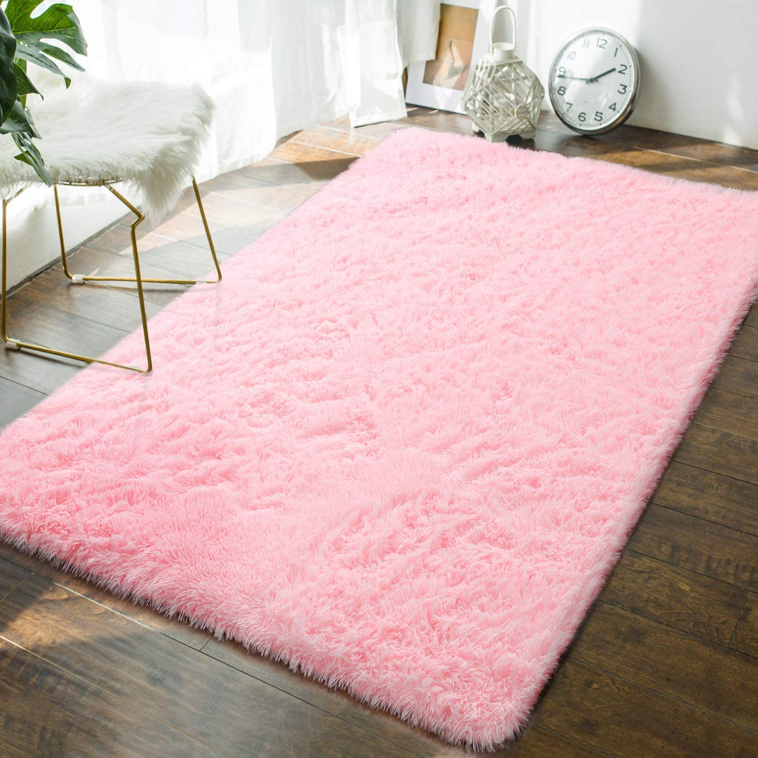 Andecor Soft Fluffy Bedroom Rugs - 4 x 6 Feet Indoor Shaggy Plush Area Rug for Boys Girls Kids Baby College Dorm Living Room Home Decor Floor Carpet, Baby Pink
