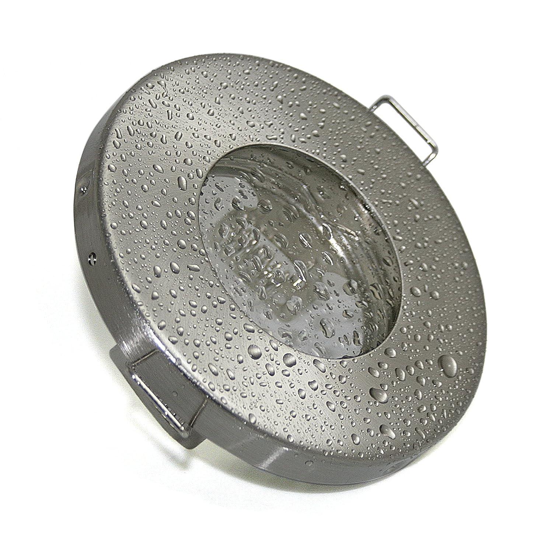 7W Set Einbaustrahler IP65 Optik: Edelstahl Gebürstet Bad, Dusche, Sauna,  Inkl. GU10 7Watt LED Leuchtmittel 3000Kelvin (warmweiß) 500Lumen  (Leuchtmittel ...