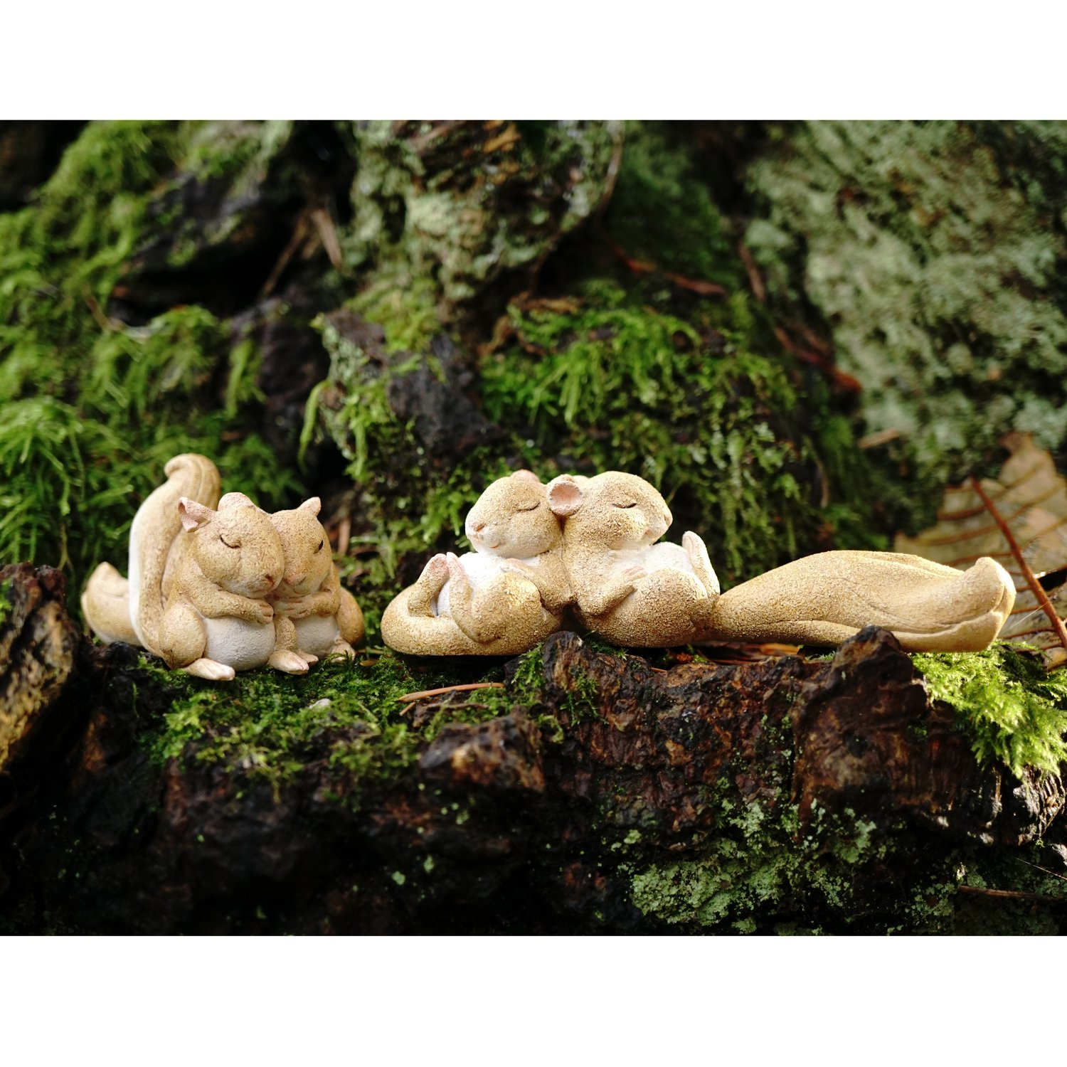 Top Collection Miniature Fairy Garden and Terrarium Statue, Sleeping Squirrels, 1.25-Inch by 4.25-Inch