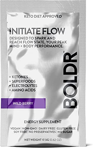 BOLDR Clean Energy Drink Mix, Sugar Free Super Powder for Healthy Energy and Hydration with Vitamin B12, Caffeine, Ketones, Superfoods and Electrolytes in Packets Wild Berry Flavor, 10 Pack