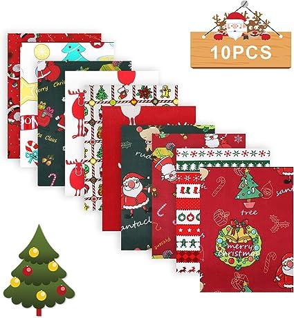 Christmas Cotton Fabric Bundles Quilting Fabric Cotton Craft Fabric Bundle Patchwork Pre-Cut Quilt Squares 10 Pcs 19.7Inch x 19.7 Inch Christmas Tree Fat Quarters Santa Claus Cotton Fabric DIY Sewing