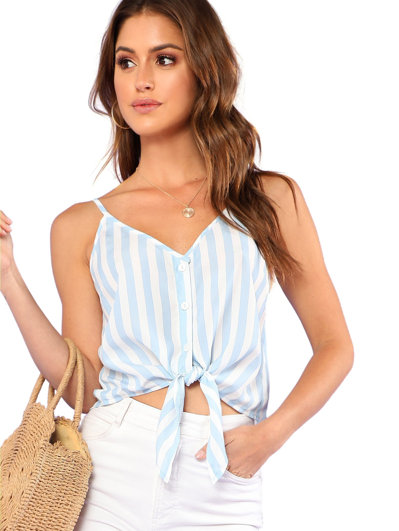 MakeMeChic Women's Casual V Neck Button Seft Tie Front Crop Cami Tops Camisole Blue-Stripe XS