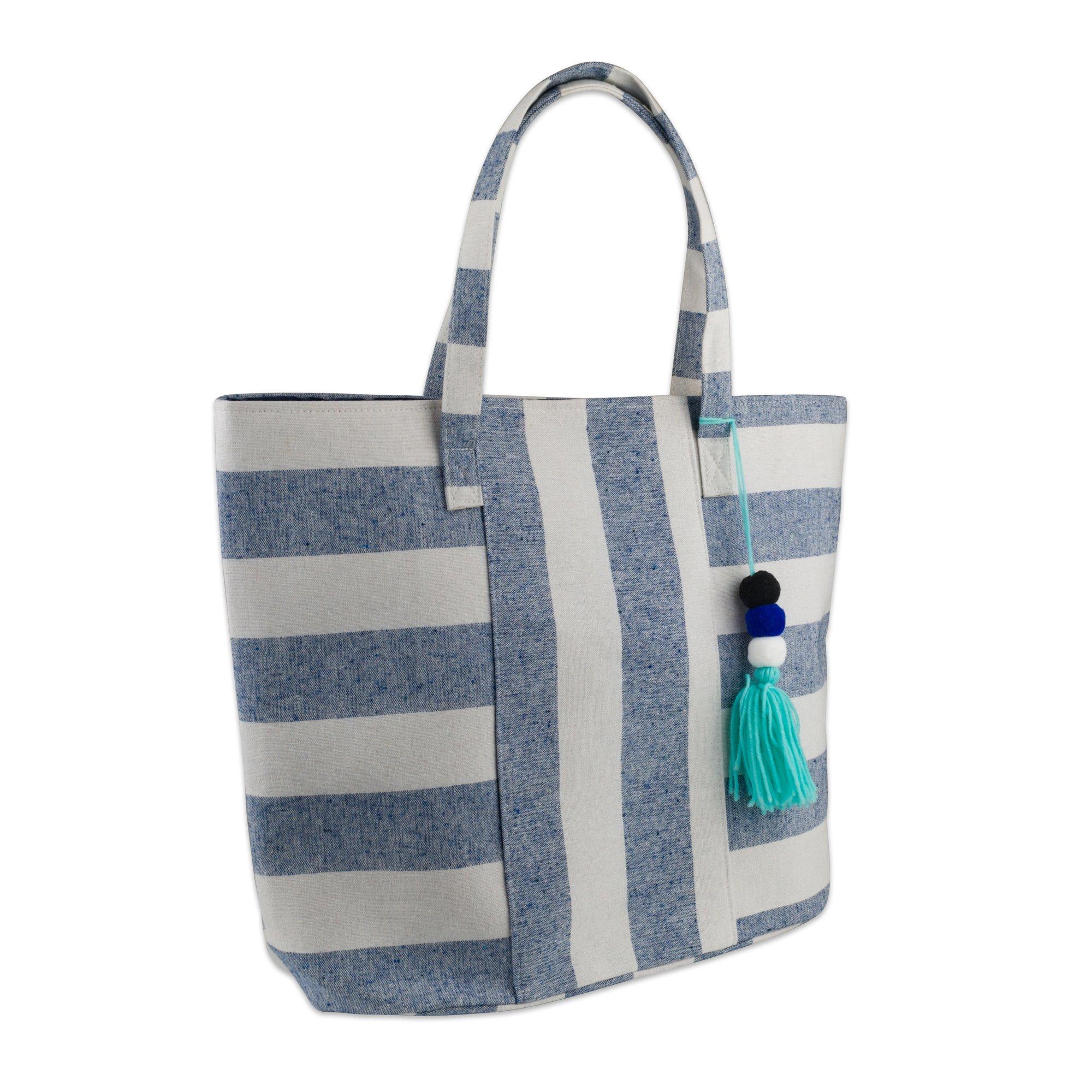 DII Boho Stripe 16x20x7, Shoulder Beach Travel Tote Bag-Blue