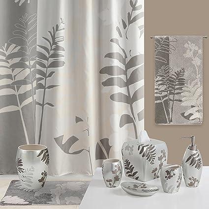 DS BATH Olivia Grey Shower CurtainFlower CurtainPlants Curtains For Bathroom