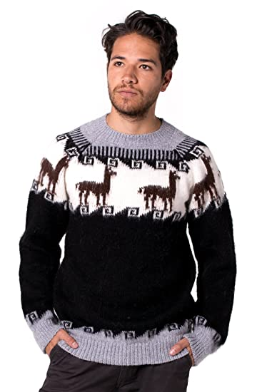 c72af3d72e5200 Gamboa - 100% Alpaca Sweater for Men - Black and White Andean Design at  Amazon Men's Clothing store: