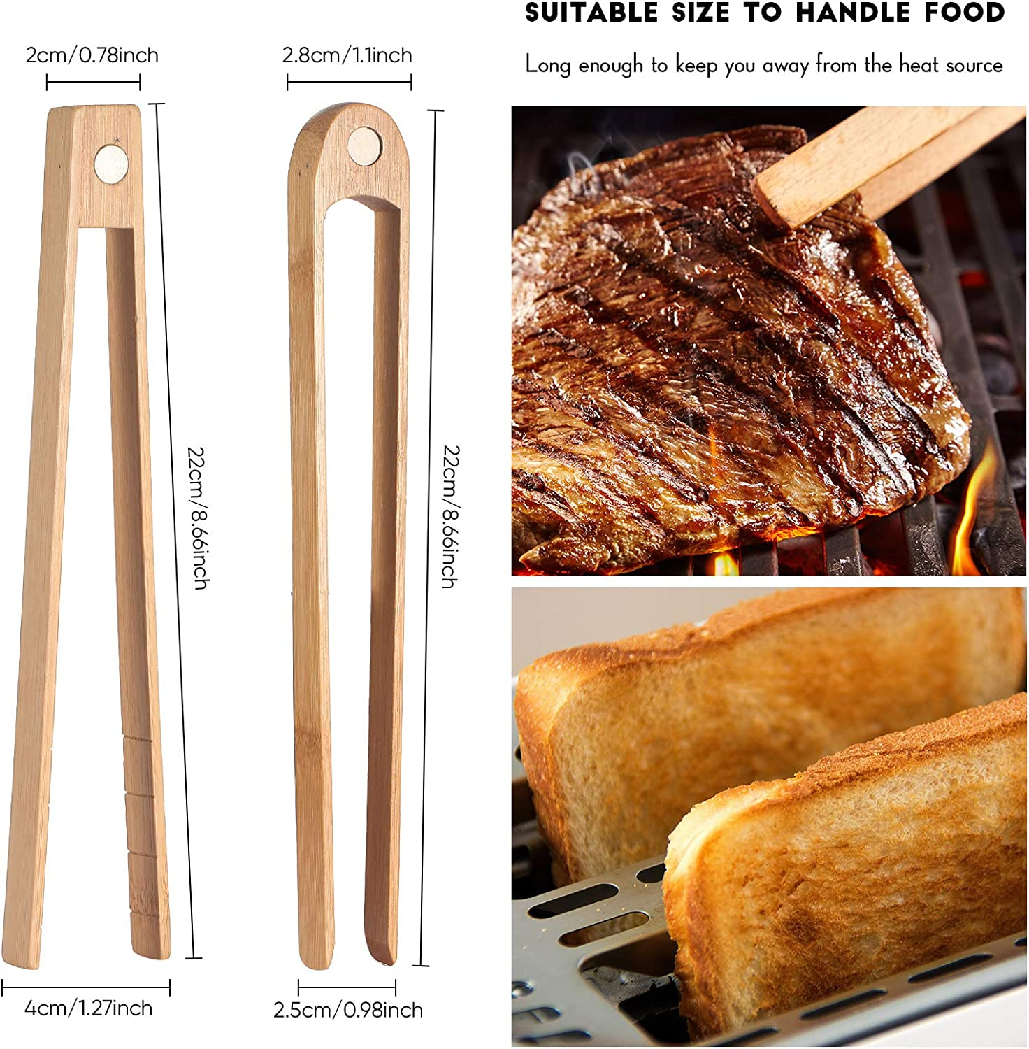 2 Pieces Magnetic Bamboo Toaster Tongs 8.7 Inch Wooden Kitchen Toast Tongs for Cooking Natural Bamboo Kitchen Utensils Suitable for Bagel Toast Muffin Bread Bacon Cake