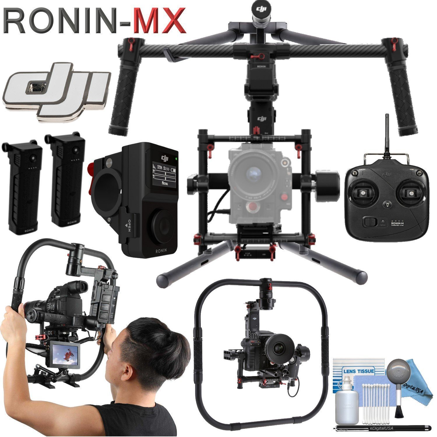 DJI Ronin-MX 3-Axis Gimbal Stabilizer Pro Travel Bundle: Includes, DJI Grip for Ronin-MX, Wireless Thumb Controller and more...