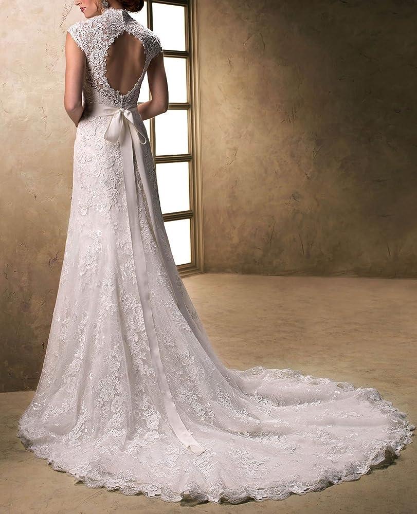Lydiags Vestido de novia de satén y tul, cuello en V, con lazo, manga muy corta blanco blanco 36: Amazon.es: Ropa y accesorios