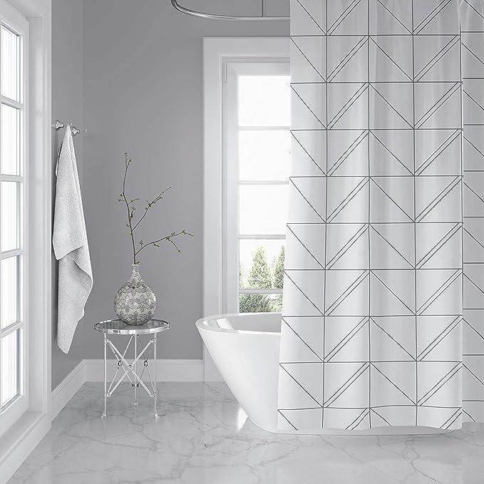 Horizon Home Essentials Modern Luxury Geometric Shower Curtain For Bathroom White And Grey Kitchen Dining