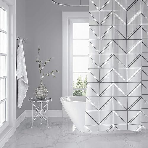 Horizon Home Essentials Modern Luxury Geometric Shower Curtain For Bathroom 72 X Inch