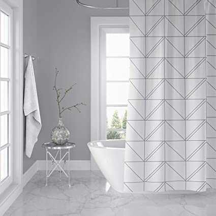 Amazon Com Horizon Home Essentials Modern Luxury Geometric Shower Curtain For Bathroom  Inch Water And Mildew Resistant 100 Polyester
