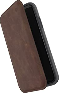 Speck Products Presidio Folio Leather iPhone XR Case, Saddle Brown/Light Graphite Grey