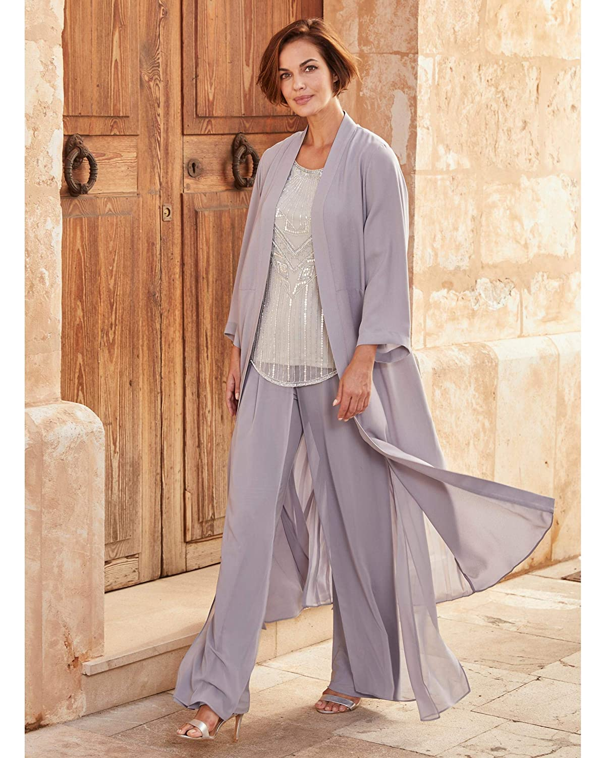 Find Downton Abbey Style Dresses in the UK JD WILLIAMS Womens Joanna Hope Overlay Palazzo Trousers  AT vintagedancer.com