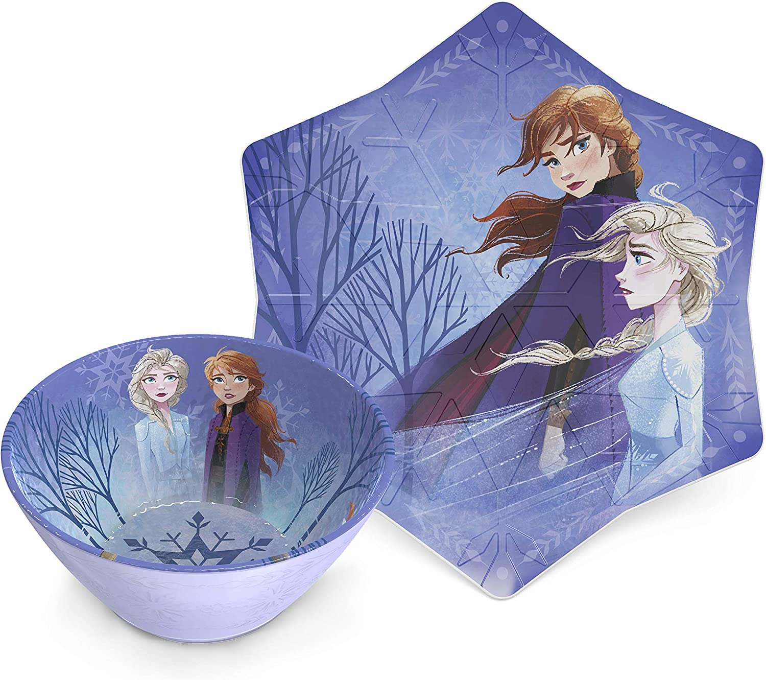 Zak Designs Disney Frozen II Movie Kids Embossed Dinnerware Set, Including 9in Melamine Plate and 6in Bowl Set, Durable and Break Resistant Plate and Bowl Makes Mealtime Fun (Elsa & Anna, BPA-Free)