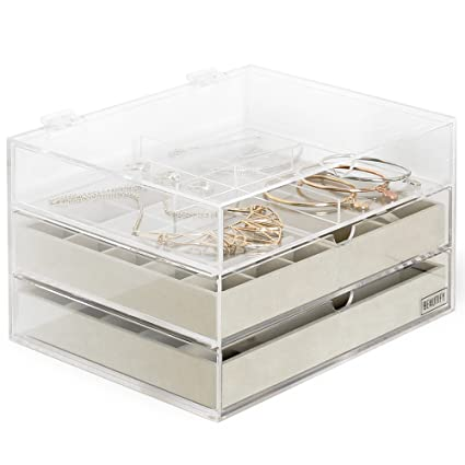 Amazoncom Beautify Stackable Jewelry Organizer Trays Set of 3 Muti