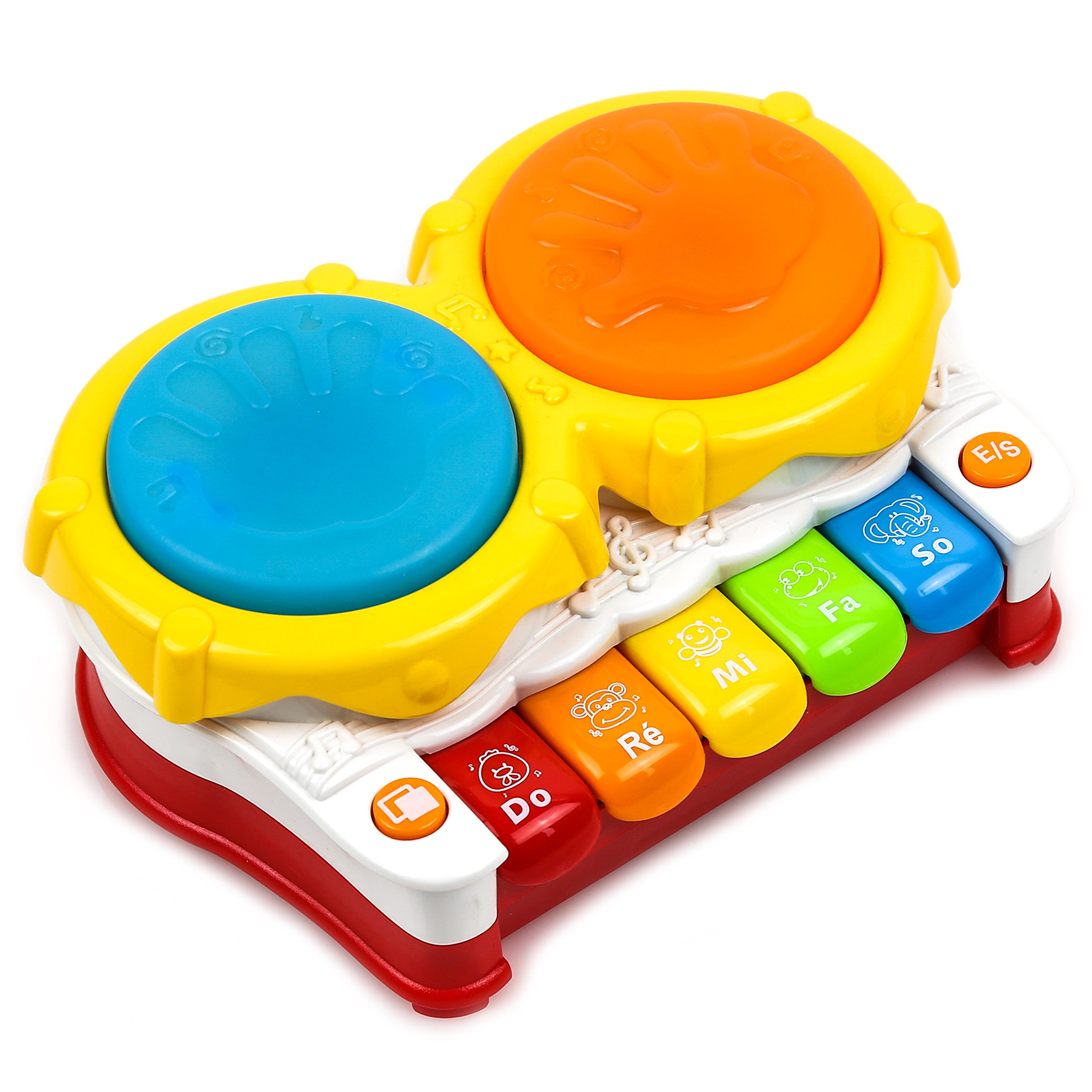Toysery Baby Toys Piano Music Keyboard Toddler Toys - Hand Drum Music Toys for Kids with Flash Lights - Early Educational Learning
