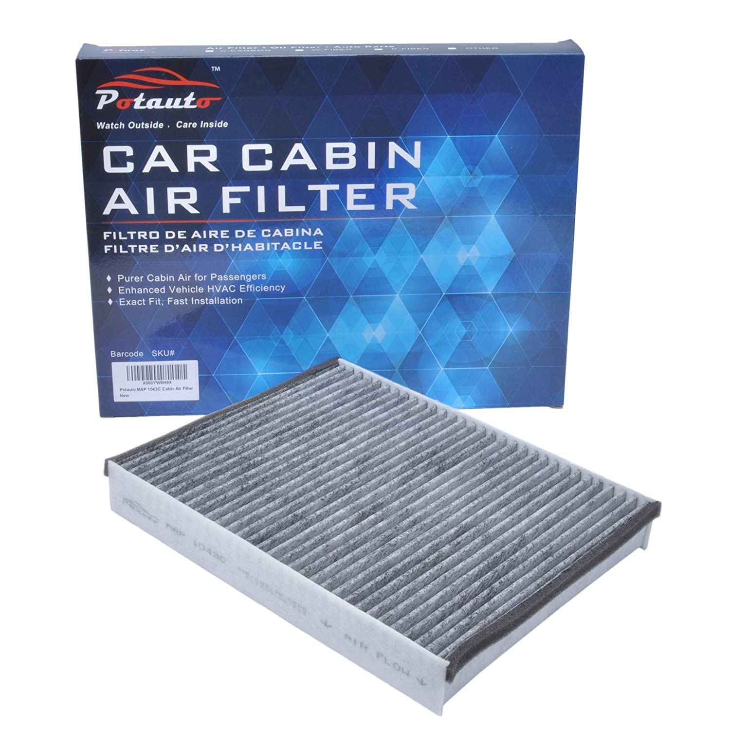 POTAUTO MAP 1043C Heavy Activated Carbon Car Cabin Air Filter Replacement compatible with FORD, C-MAX, ESCAPE, Focus, Transit Connect, LINCOLN, MKC (Upgraded with Active Carbon)