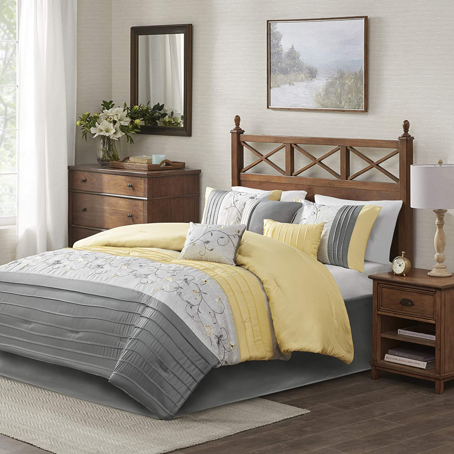 Madison Park Serene Comforter Reversible Solid Faux Silk Floral Flower Embroidered Pleated Stripes Patchwork Soft Down Alternative Hypoallergenic All Season Bedding-Set, King, Yellow
