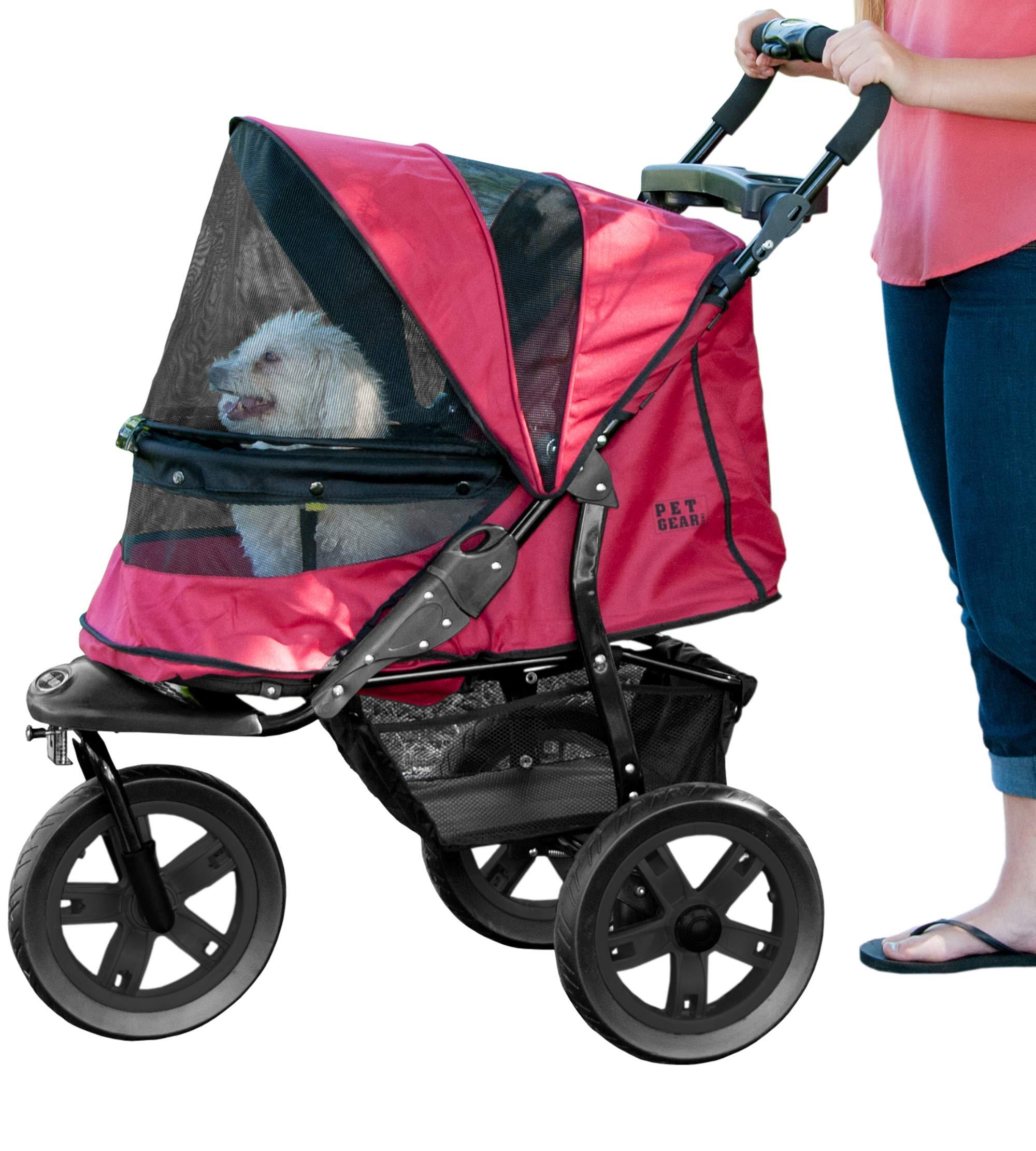 Pet Gear No-Zip AT3 Pet Stroller, Zipperless Entry, Rugged Red
