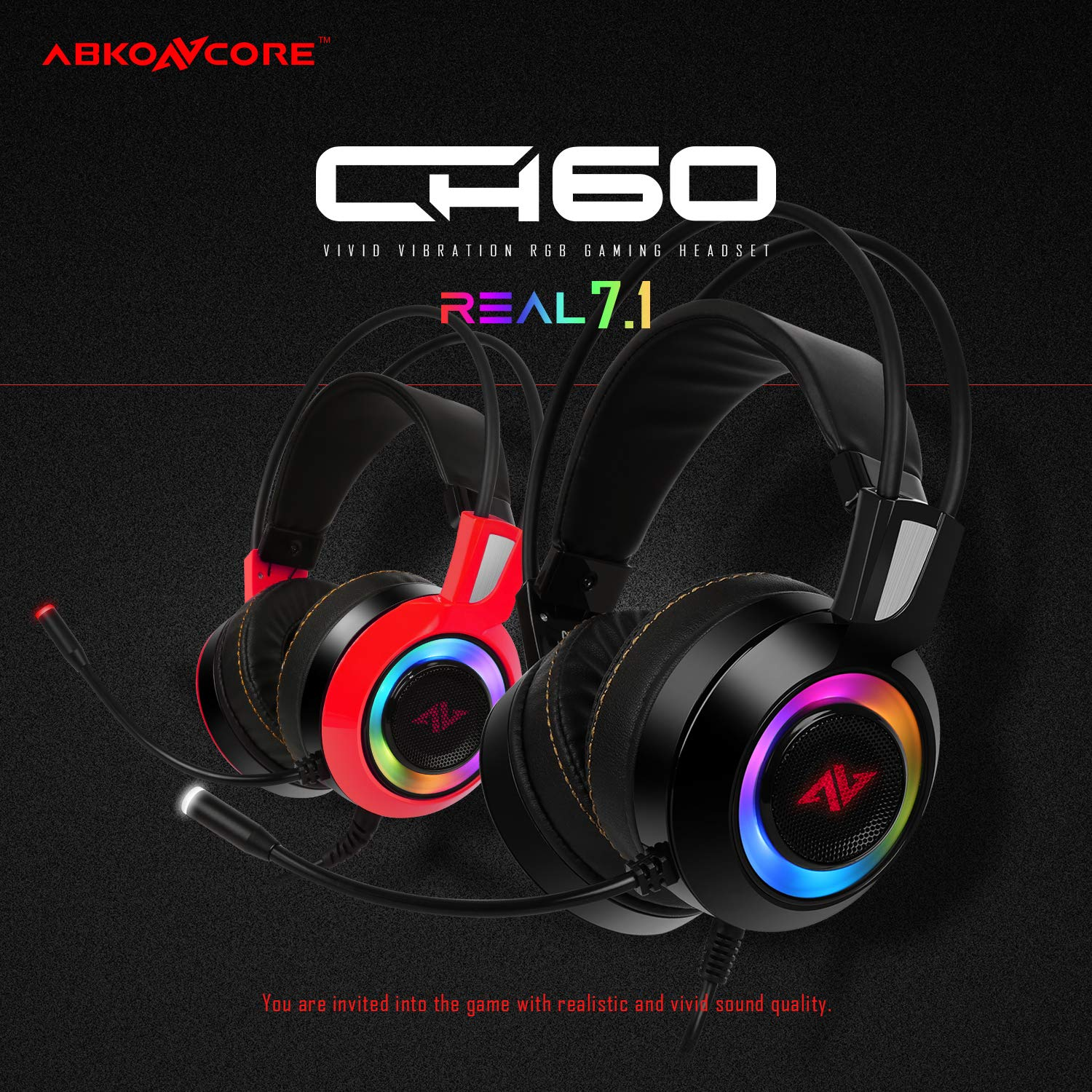 ABKONCORE CH60 True 7.1, Bass Vibration, Gaming Headset for Gaming PC, Gaming Laptop, USB Headset, Noise Cancelling Over Ear Headphones with Flexible Microphone, LED Light, in-line Remote Controller