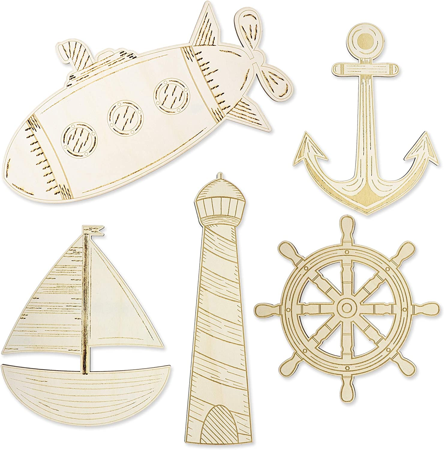 Wooden Cutouts for Crafts, Nautical Wood (5 Piece)