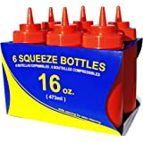 New Star 26344 Wide Mouth Plastic Squeeze Bottles, 16-Ounce, Red, Set of 6