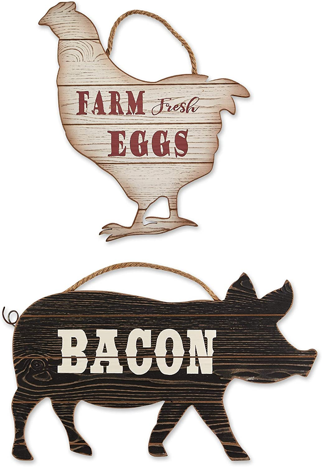 DII CAMZ11434 Farmhouse Framed Wall Art Sign, Chicken and Pig