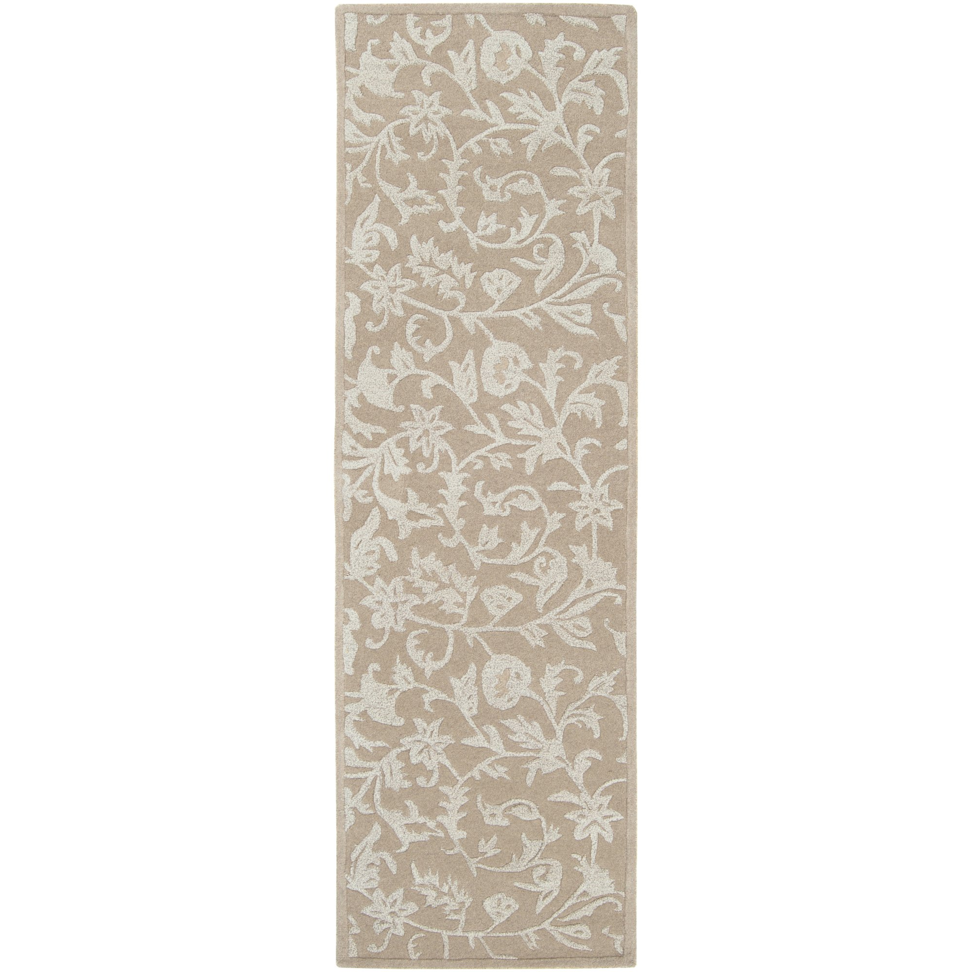 Surya Raj RST-1215 Transitional Hand Tufted 100% New Zealand Wool Feather Gray 2'6'' x 8' Floral Runner