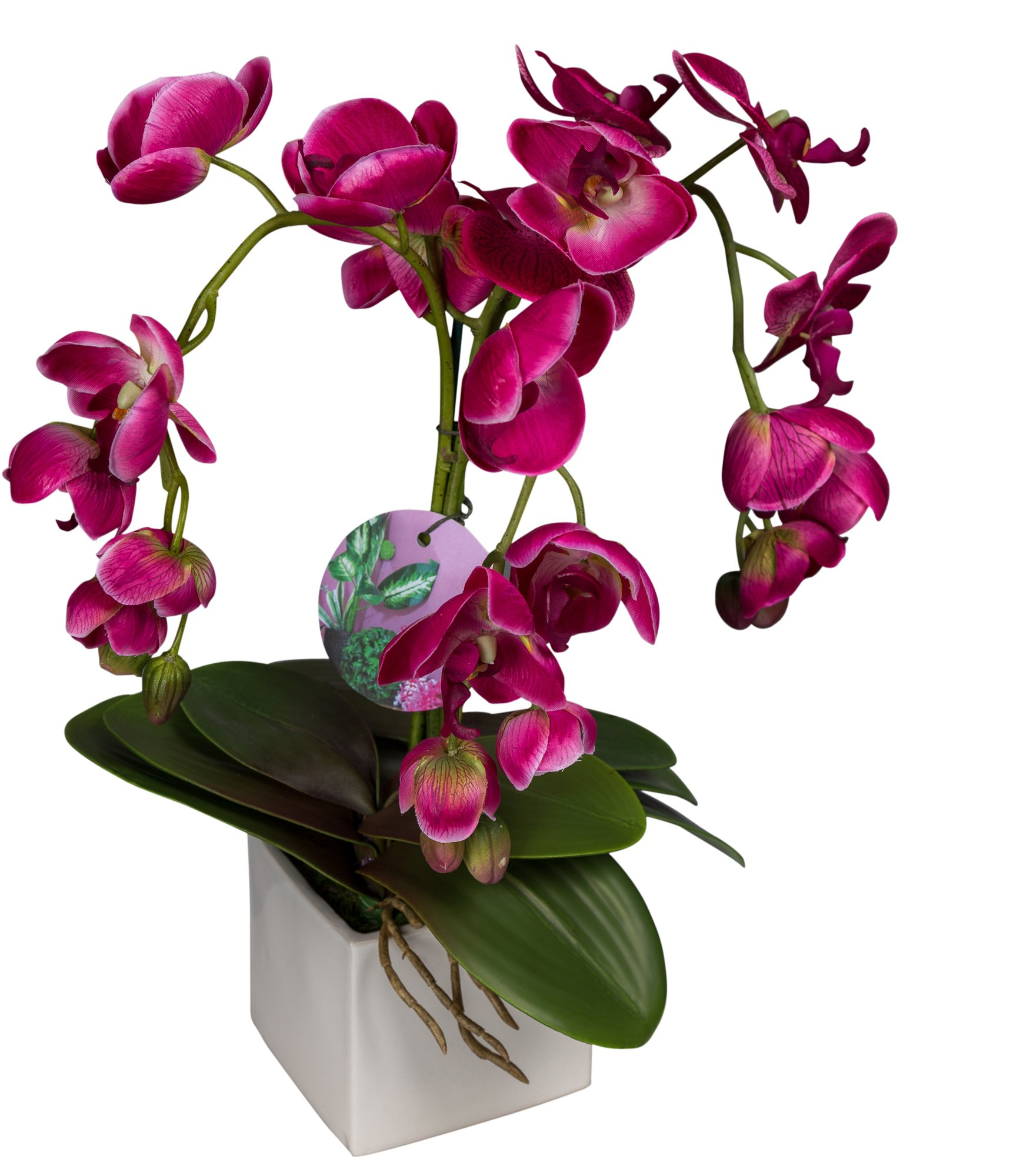 Silkenbloom Artificial Triple -Pink Silk Orchid Arrangement in Square Ceramic Pot Phalaenopsis by SilkenBloom