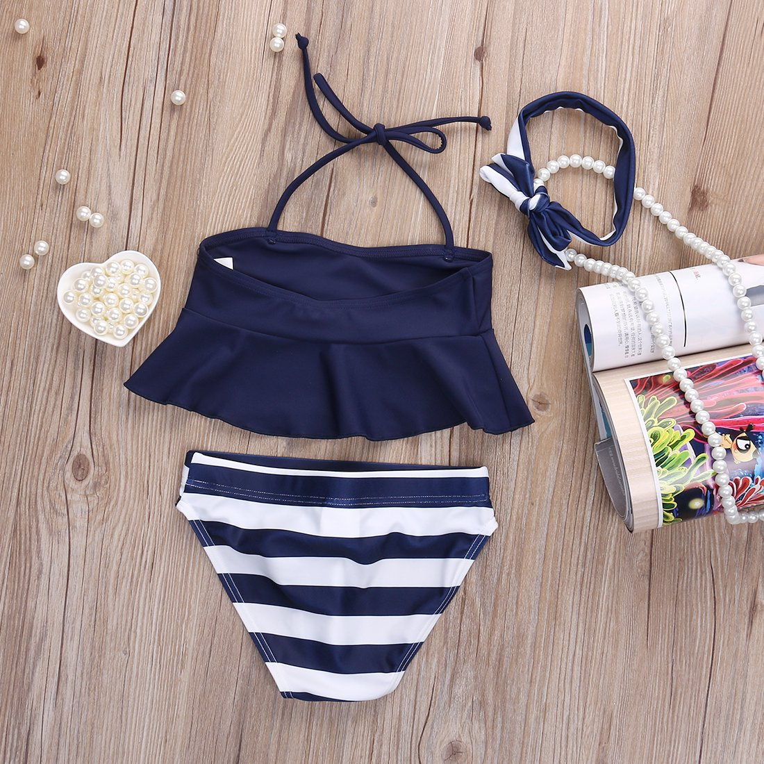 2019 Kids Baby Girl Bikini Suit Navy 3pcs Set Swimsuit Swimwear Bathing Swimming