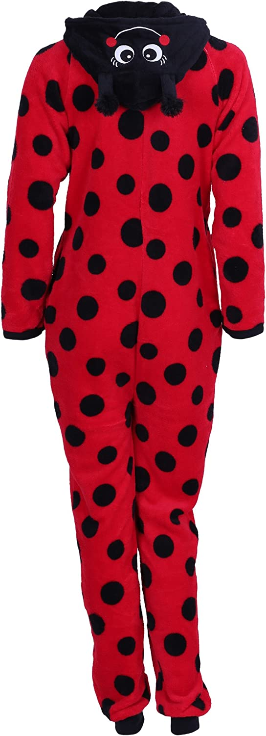 Love to Lounge Red Onesie for Ladies Ladybird Hooded All in One Piece Pyjama