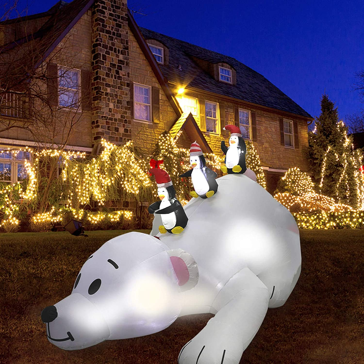 MorTime 6 FT Christmas Inflatable Polar Bear, Blow up Airblown Lighted 3 Penguins on Polar Bear Decor with LED Lights for Christmas Outdoor Yard Party Shopping Mall Decorations