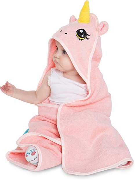 corimori Rose El Unicornio Toalla bebé recién Nacido con Capucha, 100 % algodón, Color Rosa (1846): Amazon.es: Bebé