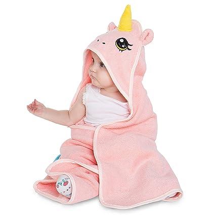 corimori Rose El Unicornio Toalla De Baño Con Capucha, 100% Algodón, Recién Nacidos