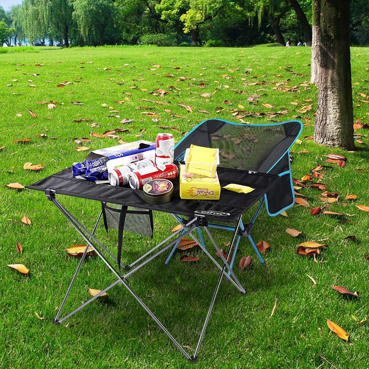 con Bolsa de Transporte para Exteriores Senderismo G4Free Plateado Medium Camping Picnic Mesa Plegable port/átil y Plegable para Acampada