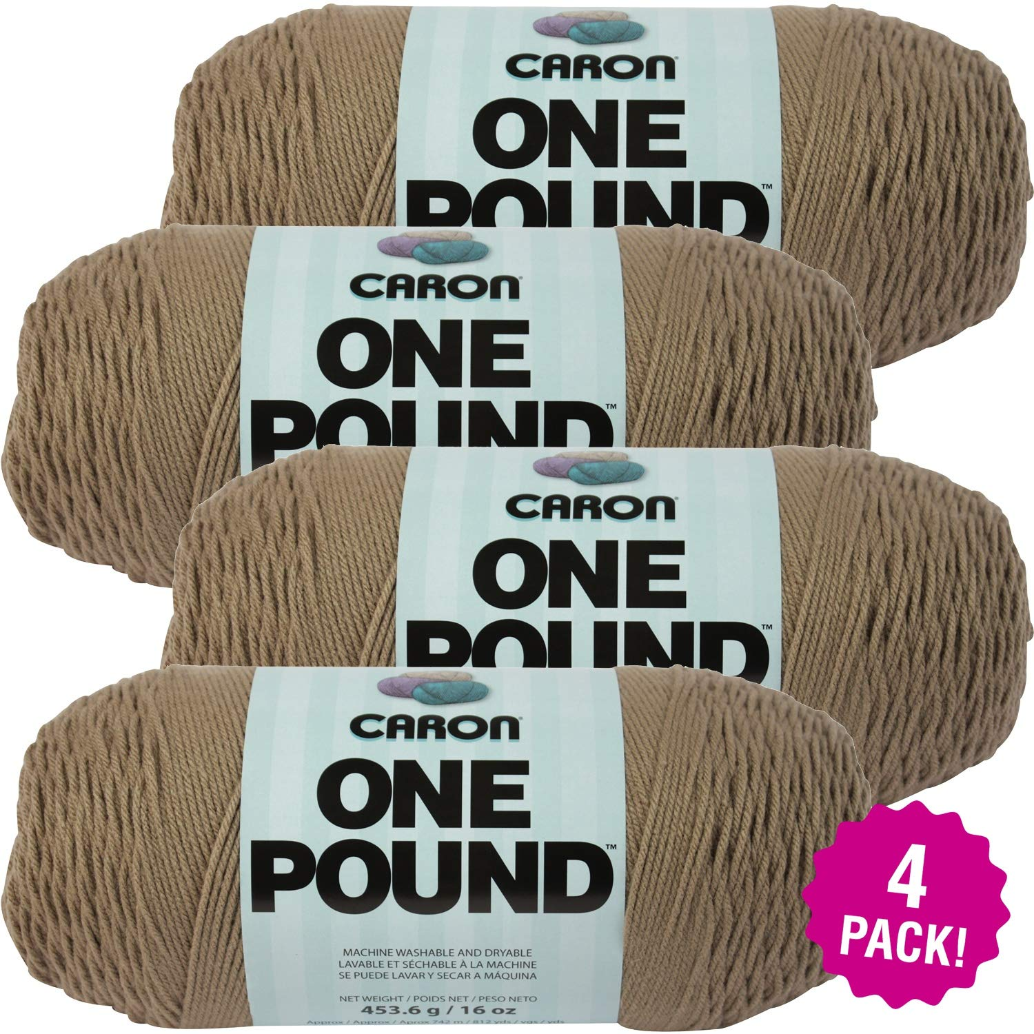 Caron 99549 One Pound Yarn-Taupe, Multipack of 4, Pack