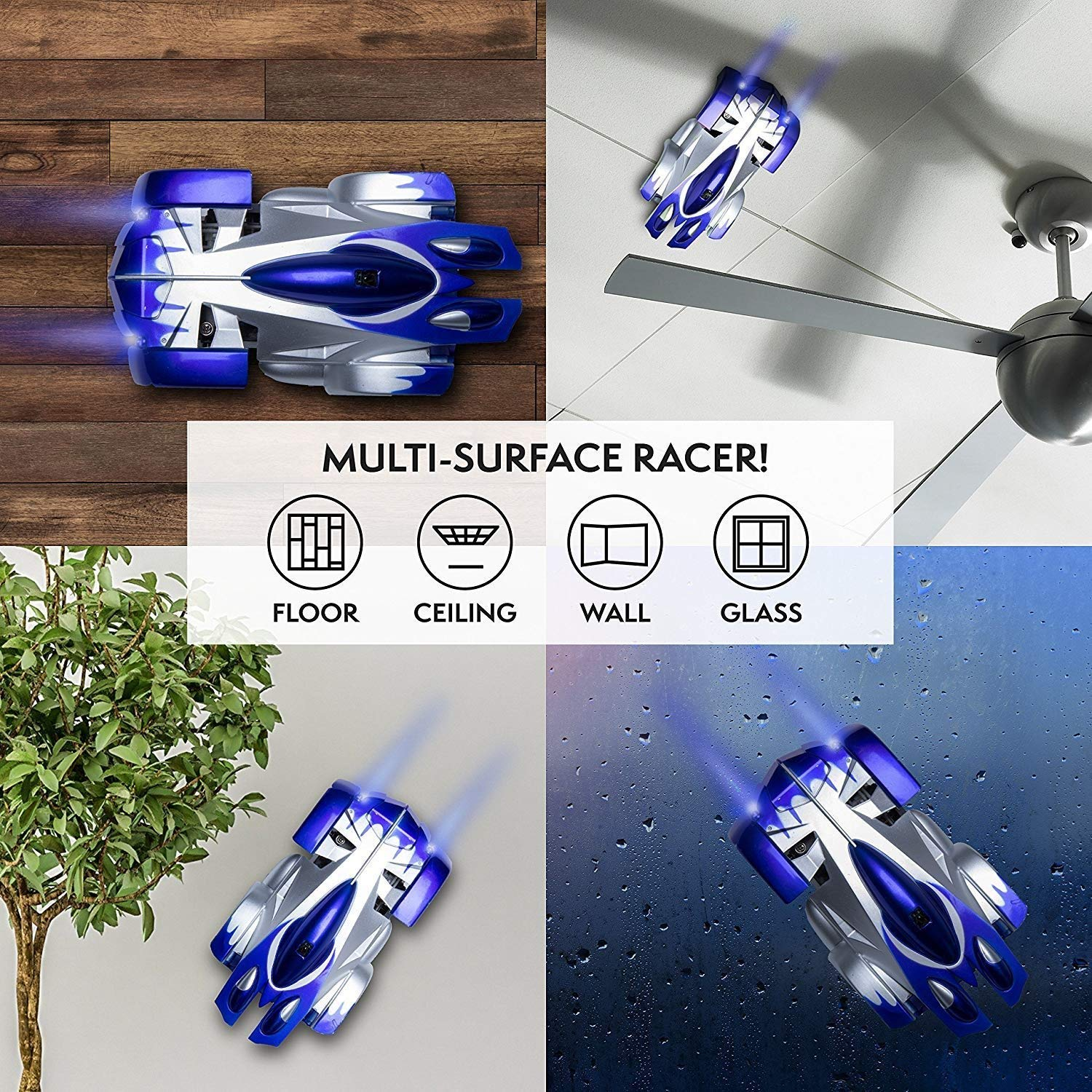 Rechargeable 360 Rotating Durable Race Remote Control Car with LED Light Blue Car Toy for 5-6 Year Old Boy Flywind Gravity Defying Wall Climbing RC Toy for Kids Toys 6-10 Boys Birthday Gifts