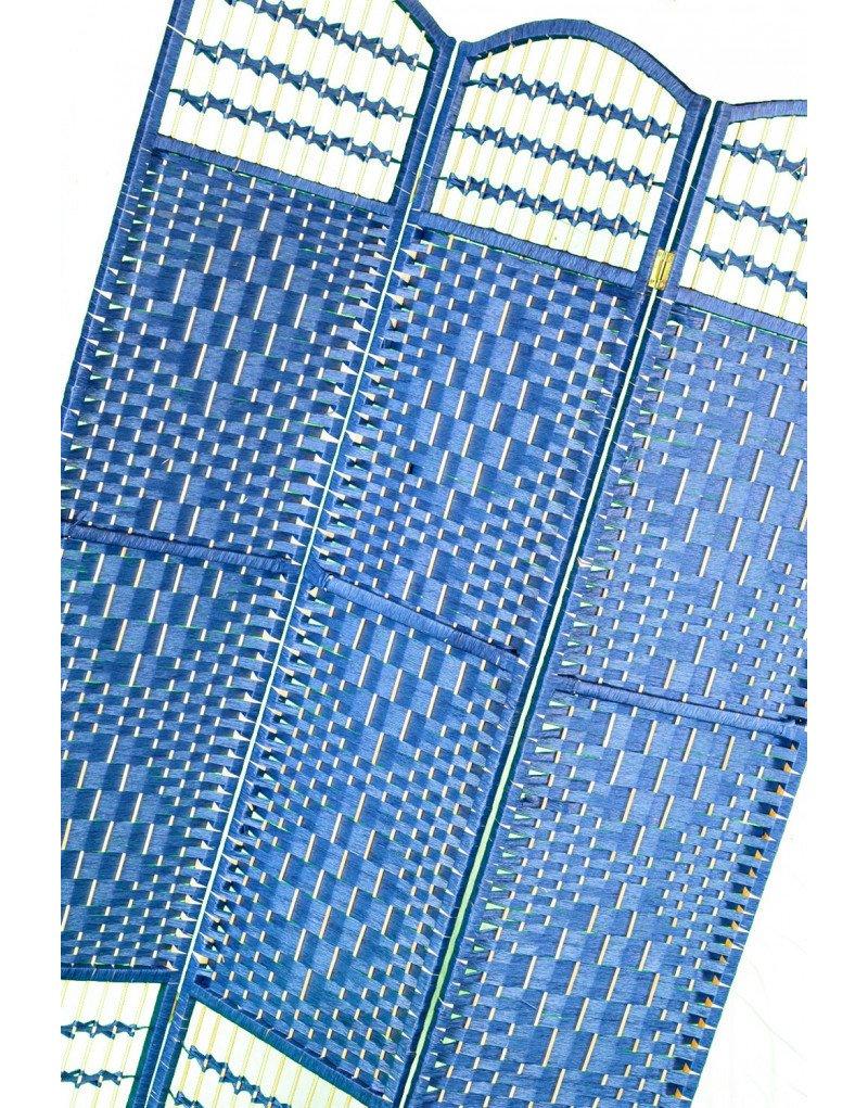 Biombo Separador Economico Azul Plegable Cinco Paneles Madera Natural para Dormitorio//sal/ón 170 X 200 Cm Hogar y m/ás