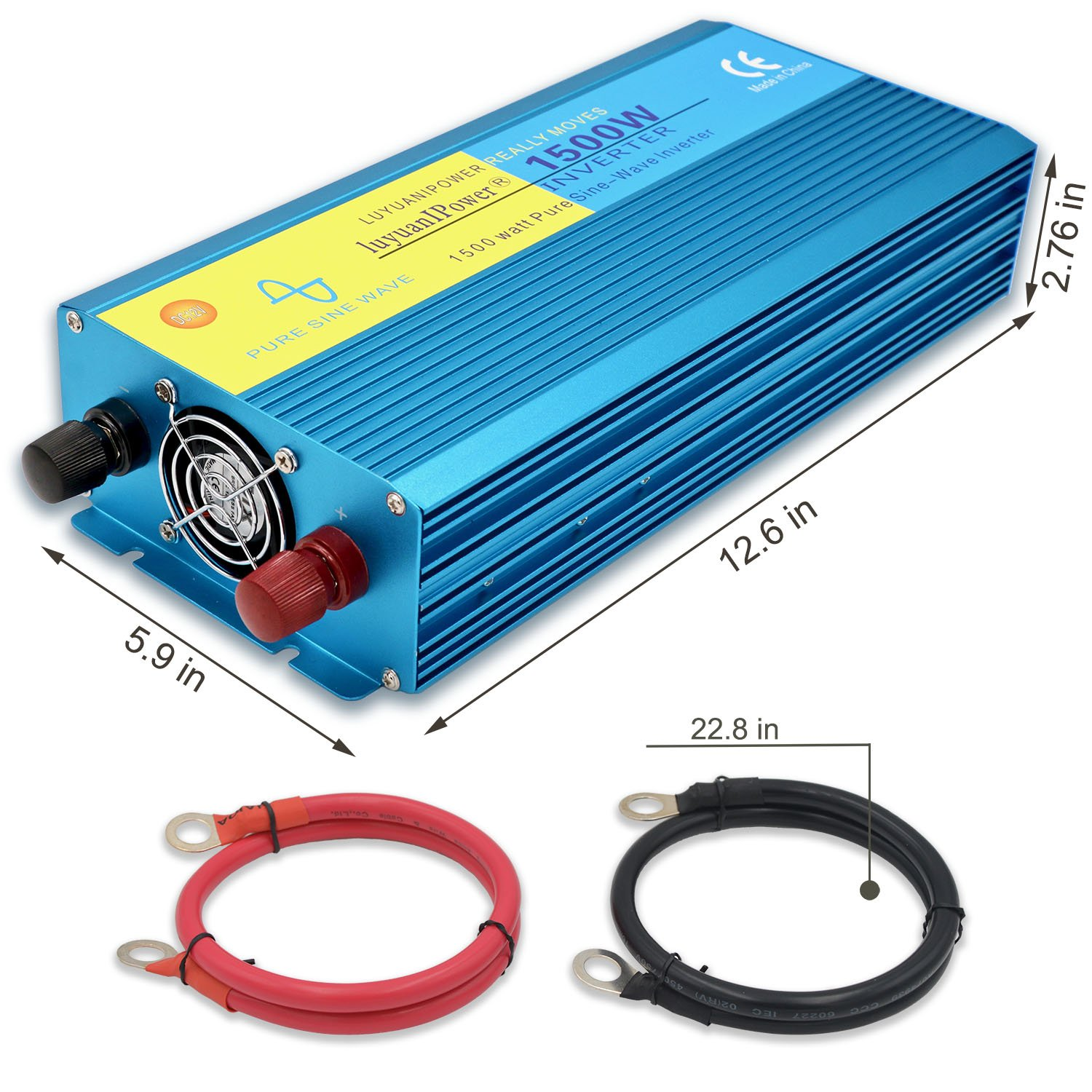Cantonape 1500w Pure Sine Wave Power Inverter 3000w Peak 500w Mosfet From 12v To 110v 220v Converter Dc Ac Lcd Display Dual Outlets Car Boat Truck Rv Solar