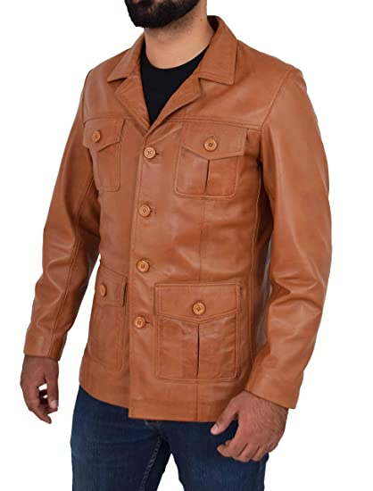 Mens Tan Leather Safari Jacket Fitted Classic Retro Blazer Hunters