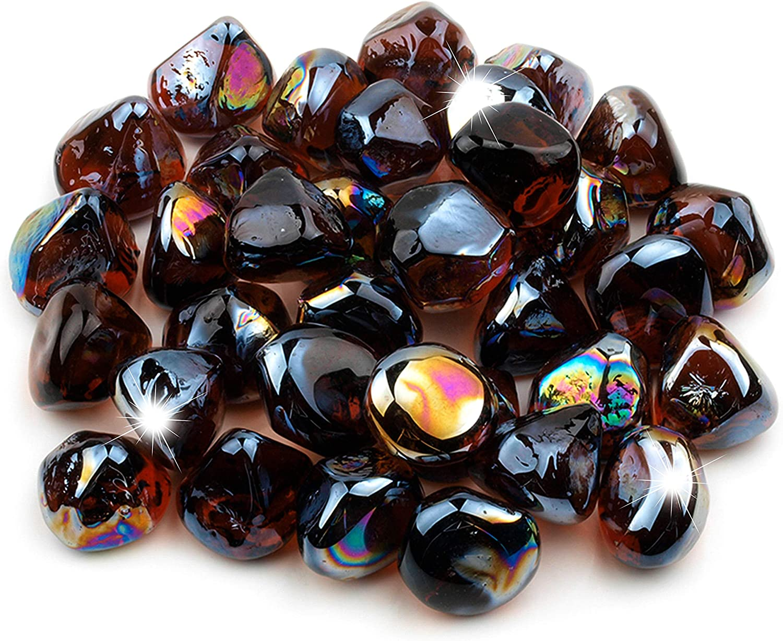 Li Decor 20lb Fire Glass Diamonds 1 Inch Fire Pit Glass Fire Glass Rocks for Gas Fireplace Amber Luster Brown