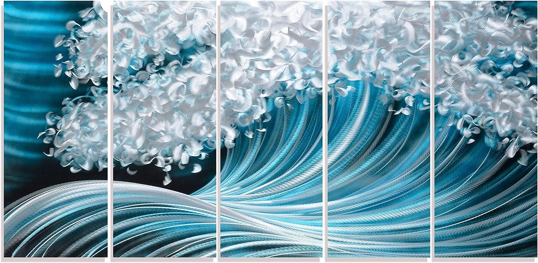 Coastal Metal Wall Art Silver and Navy Blue Decor Large Modern Sculpture for Living Room 3d Beach Artwork on ALuminum Panels