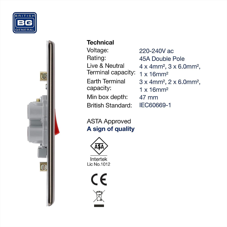 45 Amp Centralina elettrica a doppio polo in nichel nero con indicatore di alimentazione BG