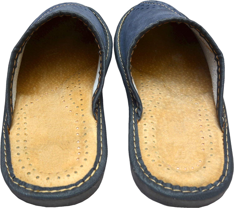 BeComfy Chaussures en Cuir pour Homme Chaussons Mules Bleu Marron