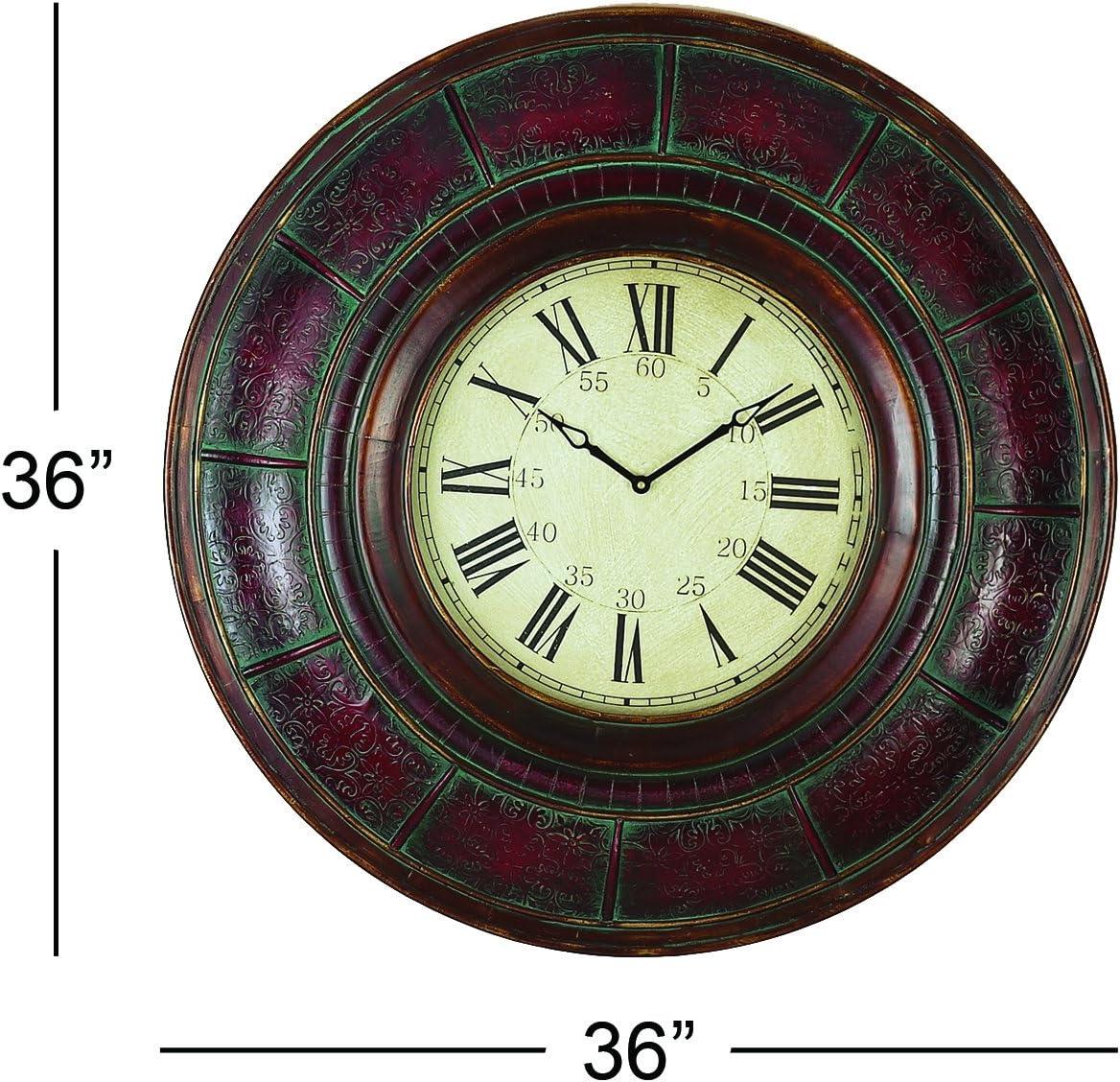 Amazon Com Deco 79 Wood Wall Clock 36 Inch Home Kitchen
