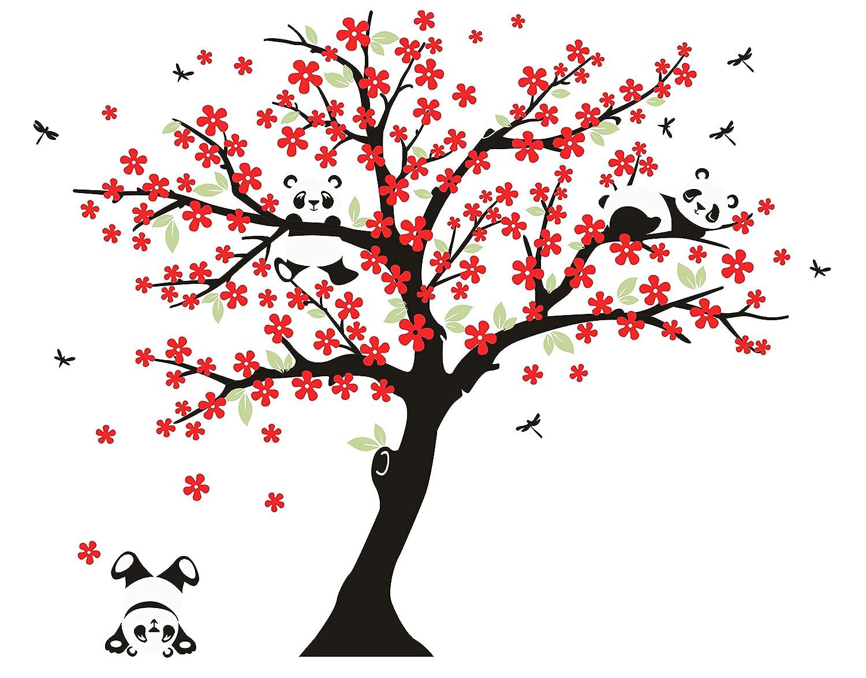 LUCKKYY 桜の木に咲くパンダ 枝 枝 レッド ウォールデカール 寝室 ツリー ウォールデカール ツリー ウォールステッカー 子供部屋 寝室 子供 赤ちゃん 壁デカール 森 壁紙 保育園 ビニール 取り外し可能 レッド レッド B07CZ7KLHN, つかさ石材:ba368baf --- ijpba.info