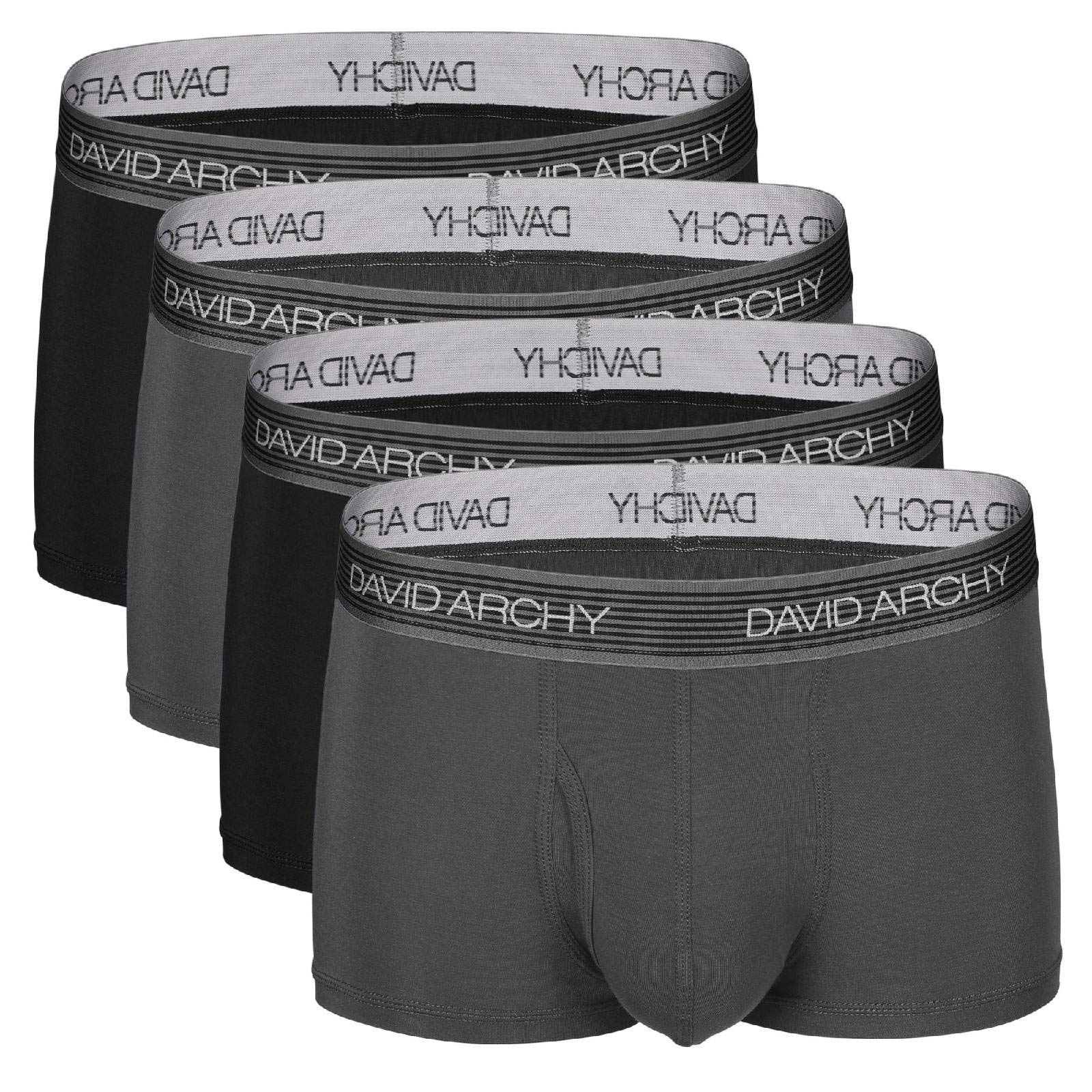 David Archy Men's 4 Pack Ultra Soft Micro Modal Underwear Breathable Trunks with Fly (M, Black/Dark Gray) by David Archy
